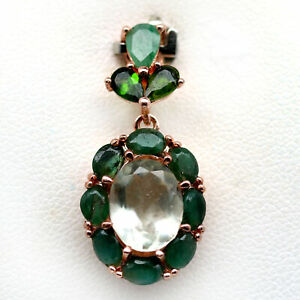NATURAL 7 X 9 mm. GREEN AMETHYST, EMERALD & DIOPSIDE 925 STERLING SILVER PENDANT