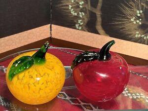 Hand Blown Murano Style Splatter Glass Fruits - Orange and Red Apple