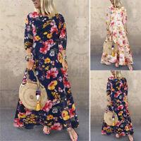 ZANZEA Femme Imprimé Floral Col Rond  Manche Longue Ample Loose Robe Dresse Plus