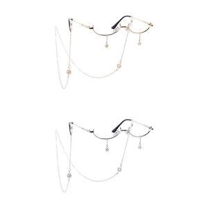 Retro Half Frame No-Lens Glasses with Eyeglasses Chain Star Pendant Deco Gift