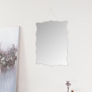 Curved Frameless Bevelled Wall Mirror vintage ornate pretty decorative bathroom