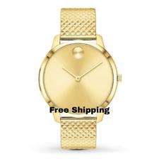 Movado Bold Shape MissFOX Watch Yellow Gold Steel Mesh Bracelet Women's  Watch