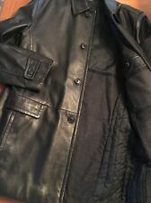 $799 Hugo Boss Leather Jacket Black 4 Button Lamb Leather Coat Mens Size 46R