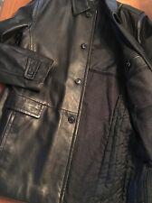 Boss Hugo Boss Leather Jacket Black 4 Button Lamb Leather Coat Mens Size 46 R