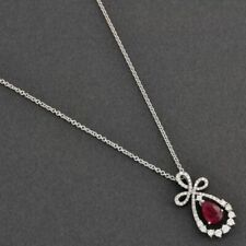 1.80ct Teardrop Ruby & Diamond Pend Necklace 14K White Gold Over  18""