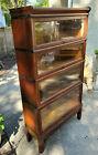 Antique Globe Wernicke Quarter Sawn Oak Barrister Bookcase 4 Stacks Top & Base