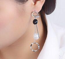 Ear Hook Drop Dangle Stud Earrings Fashion Woman Silver Tone Tassel Pearl