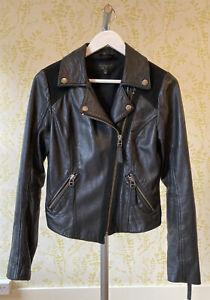 TOPSHOP real leather black biker jacket UK 8 black suede details, zipped cuffs