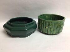2 Vintage Green Ceramic Succulent Planters Pots Asian Bonsai Cactus Houseplants