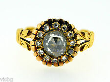 Sunburst Shape Ring in Gold Rare Georgian Rose Cut Diamond Cluster