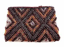 Small beaded bag clutch dark brown gold diamond design zip top 5.5 by 4 inches