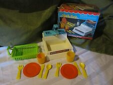 Fisher Price Fun with Food Sink Box Lot Dishes Drainer Parts Pretend Play READ