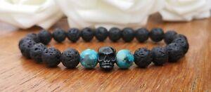 Men's Black Lava Bead Skull Bracelet Jasper Beads Stainless Steel Grunge Goth