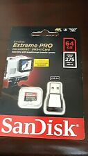 SanDisk 64GB Extreme Pro Micro SD Memory Card UHS-II 275MB/s+USB Card Reader