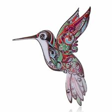 Brooch Pin Women Costume Jewelry Elegant Handmade Printing Animal Hummingbird