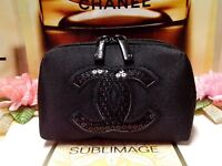 "CHANEL Beauty Black Sequin Logo Handhold Coin Bag Wallet Purse ""P/FREE"" ~20%OFF"