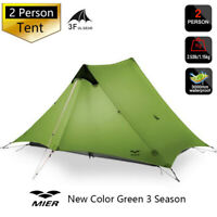 3F UL GEAR 2 Person Outdoor Ultralight Camping Tent Green 3 Season New LanShan