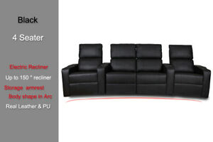 Electric Recliner Storage Love Chair Sofa 4 Seater Armchair Home Theater Seat