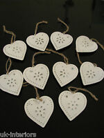Set of 10 Vintage Hanging HEART Metal Shabby Chic Decoration or Wedding Favours