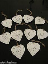 Lot de 10 vintage hanging heart Métal Shabby Chic Décoration ou mariage faveurs