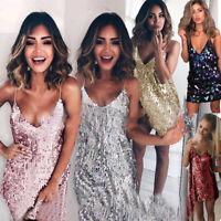 Ladies Glitter Sequin Plunge V Neck Strappy Bodycon Evenin Party Club Mini Dress