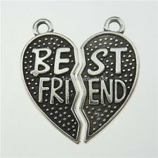 13355 10SET=20PCS Alloy Silver Separate Heart Words Best Friend Pendant Charms