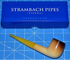 straight Amber, Calcinated Premium MEERSCHAUM pipe STRAMBACH of Austria (bauer)☦