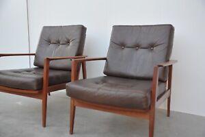 KNOLL Antimott 2 Sessel Leder Teak Vintage mid century Wilhelm lounge chair