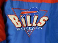 Vintage Buffalo Bills Size Large Puffer Coat Full Zip Up Winter Jacket