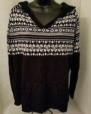 Fashion Bug Womens Black White Design Hooded Sweater Top Size XL