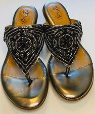 Eurosoft Sofft Women's Sandal Beaded Thong Heel Slide Mules Silver Size 7.5m