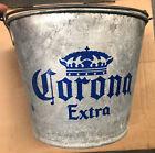 CORONA EXTRA Galvanized Metal RUSTIC Beer BUCKET Man Cave Barware JU21