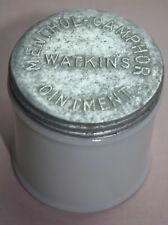 Rare / Vintage  WATKINS MENTHOL-CAMPHOR OINTMENT MILK GLASS- JAR WITH  LID EMPTY