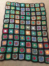 Granny Square Squares Small Vintage Hand Made Crochet Afghan Lap Blanket