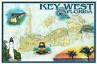 Key West Nautical Chart, Florida, Map, Lighthouse, FL Keys Bridge etc - Postcard