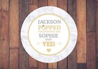 35 PERSONALISED Party Engagement favour stickers- POPPED THE QUESTION, Marble