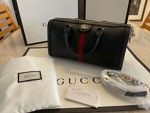 Gucci GG OPHIDIA Medium Top Handle Bag Black Leather, New W/Dust bag