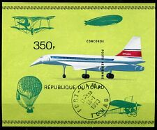 BLOC TIMBRE ** CONCORDE  1973 FORT LAMY TCHAD ZEPPELIN MONTGOLFIERE