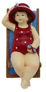 Fun cute plump beach Lady in deck chair ornament figurine UK seller