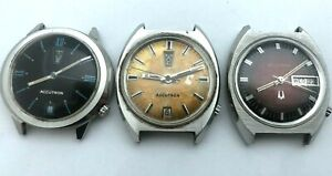 1960's Bulova Accutron Lot of 3 Watches 2182 Original Dial Stainless Steel U FIX