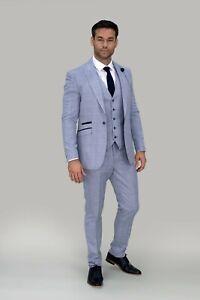 Mens Cavani Premium Wedding Caridi Sky Blue Check Tweed Slim Fit 3 Piece Suit