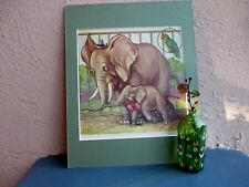 vintage comical illustration of elephants at the zoo 1930's