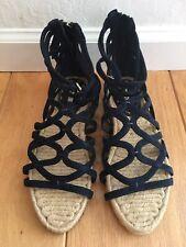 $595 MIU MIU Women 37 7 Navy Blue Suede Espadrille Gladiator Flats Sandals Shoes