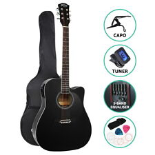 Alpha Electric Acoustic Guitar 41 Inch Wooden Classical Full Size EQ Capo Black
