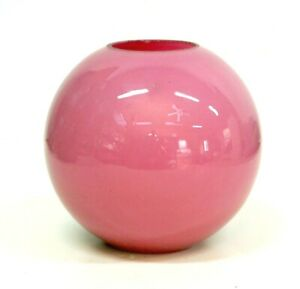 ANTIQUE VICTORIAN PINK GLASS BALL GLOBE OIL LAMP SHADE