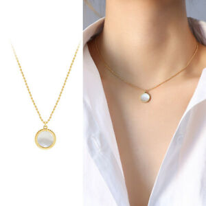 Woman 18K Gold Plated Stainless Steel Mother of Pearl Round Pendant Chain