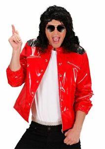 RED VINYL POP STAR JACKET FANCY DRESS FUN - MEDIUM