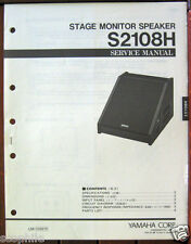 Yamaha S2108H Stage Monitor Speaker Original Service Manual Schematics Booklet