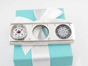 TIFFANY & CO SILVER COMPASS MAGNIFYING GLASS RULER THERMOMETER POUCH