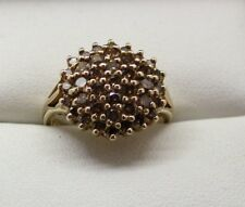 Lovely 9 Carat Gold 1.50 Carat Champagne Diamond Cluster Ring Size M.1/2